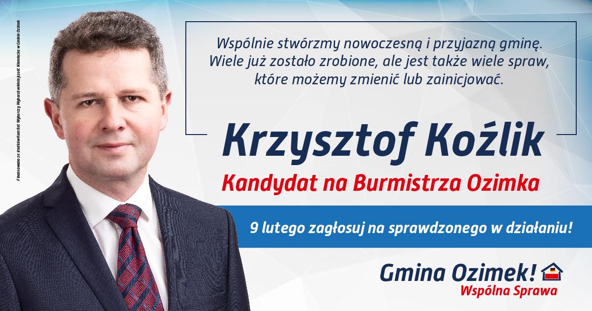 Krzysztof Koźlik Burmistrz Ozimek